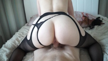 sweetly fucked girlfriend in stockings and cum inside