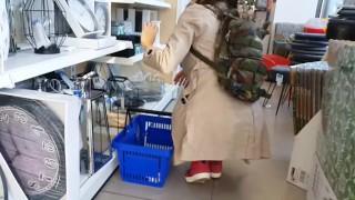 Upskirt NO PANTIES at Shoping MALL