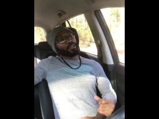 Horny Black Dude Stroke BBC & Cums in Public Trail