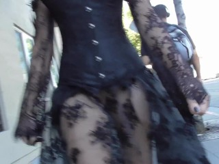 Teaser - Halloween Gown: Sheer Skirt No Panties - Pussy Flashing!