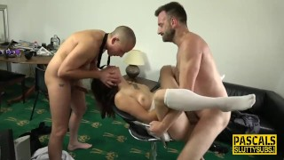 Milf submissive in threeway gets pounded