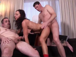 Threesome with Hot Mature Big Tit Milf with a Big Ass Fucking Two Big Dicks