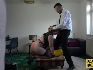Handcuffed submissive ho paddled and throated Pascal White