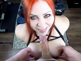 Submissive Redhead Goth Teen Hardcore Facefuck POV
