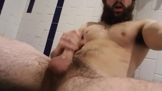 Bearded Man Cums On His Chest And Beard