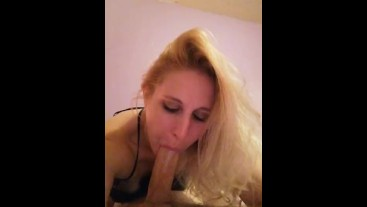 POV young hot blonde gives sloppy blowjob