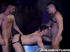 FalconStudios Devin Franco DP'd Bareback In A Sex Club