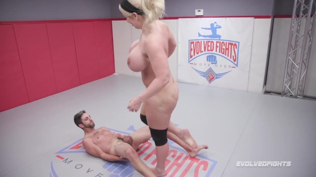 Adult amateur dating match - Huge boobs alura jenson kicks balls and dominates in nude wrestling match