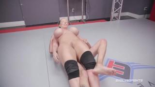 Huge boobs Alura Jenson kicks balls and dominates in nude wrestling match