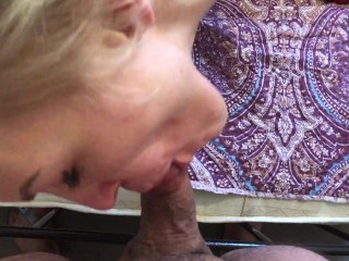 Blonde bondaged girl POV blowjob sucking cock and facial Steve Hardy