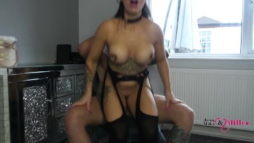 Hot Sexy British Brunette Milf Gives Sloppy Blowjob, Gags Hard On Big Cock