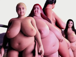 Hot Tub Fattening Machine – 5 Girls Grow Huge Boobs and Chubby Belly