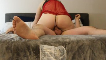 Sucked and Fucked by Blonde Milf in Red Lingerie and Thong
