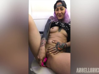 Wanking in the airplane toilet Angel Long