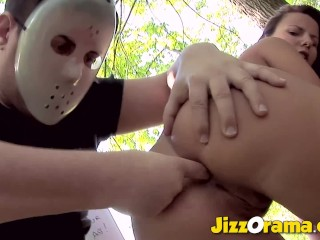 JizzOrama Brunette Hunted In the Forest and Anal Tricked By A Masked Man