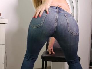 Hot jeans denim girl orgasm