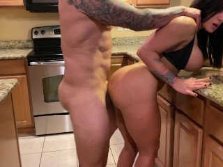 Hot latina MILF gets a rough fucked in the kitchen by her boyfriend 4K