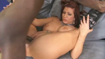 Redhead milf gets stretched out by massive black cock