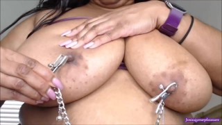 LIVE Cam BBW Sloppy BBC Dildo BJ Nipple Sucking Oil Belly Clamps trailer