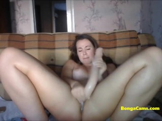 Busty BongaCams brunette with big ass works her holes out!
