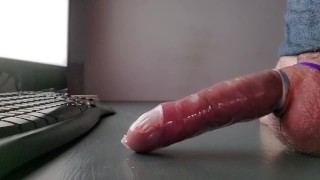 Prostate milking in a condom, and some post orgasm torture after ruined