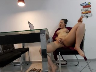 Brunette watches a Porn to Relax