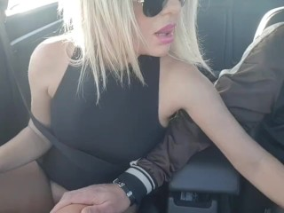 Fucking myself in the car while my stepson drive Public masturbation