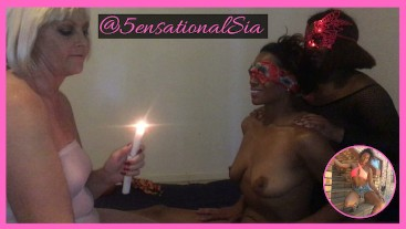 Interracial Lesbian 3sum Blindfolded Candle Wax Play @SiaBigSexy