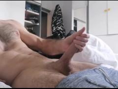 Hot brittish guy masturbating and making his big white dick squirt