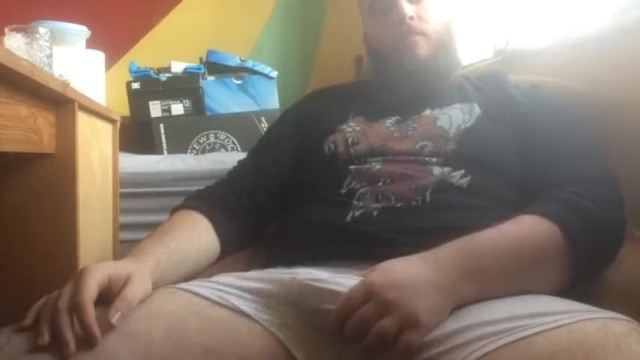 His fat cock Bearded guy strokes his fat cock and balls shoots cum