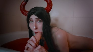Succubus with perfect body sucks sinner's dick and gets huge cumshot in eye