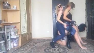 FFM session. Double ponyriding with 2 mistresses part 3