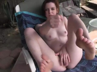 Poolside jerkoff session with Emma Evins and her pretty feet JOI Emma Evins