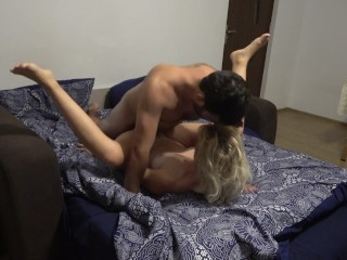 Chubby guy fucks his lady friend and cums on her pretty face