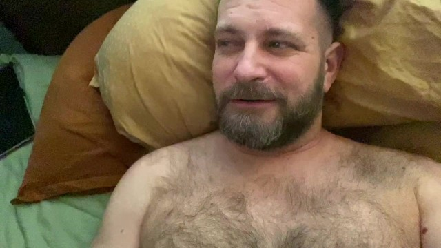 Mature gay bear dad - Hairy dad jerks off before bed