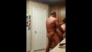 Teen fron target pounded doggy in parents kitchen and cream pied