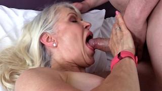 Dirty Old Granny Lady Sextasy Fucks Toyboy Big Dick in Stockings! Hot Gilf