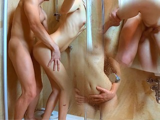 Sexy Teen Blonde is Fucking in The Shower Cum on Tits