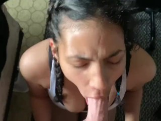 Sloppy blowjob ends with huge facial
