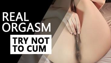 CLOSE UP schoolgirl GETS REAL orgasm. Sweet solo masturbation