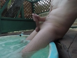 Straight Male Masturbating in Public Hot Tub First Time on Film