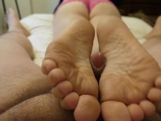 POV foot job cum on soles