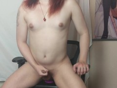 T-girl Moxxi sucks her gay dildo then fucks herself