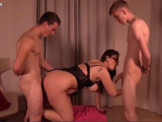 Threesome with Hot Mature Busty Big Tit Milf Fucking Two Young Big Dicks