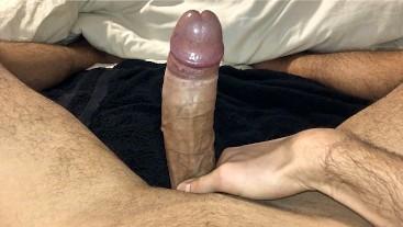 Fit guy masturbates thick uncut cock