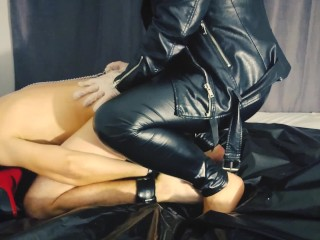 Mistress roughly spanking and pegging tied slave with huge strapon