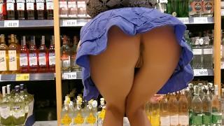 Amateur public flashing in the supermarket . WetKelly