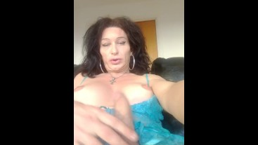 Mature Tranny in his pretty Girly nighty Boobs out wanking her cock