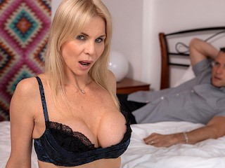 Slutty Blonde GILF With Big Natural Tits Gets Rough Face Fuck Cum Swallow