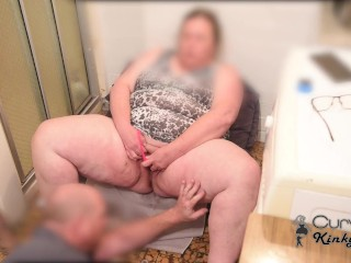 SON BUSTS HIS CUTE BBW STEP MOM GETTING HIGH MASTURBATING IN THE LAU